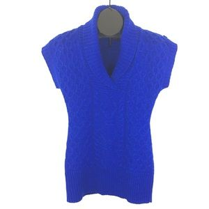 Sparkle Cowl Neck Cable Knit Shortsleeved Sweater